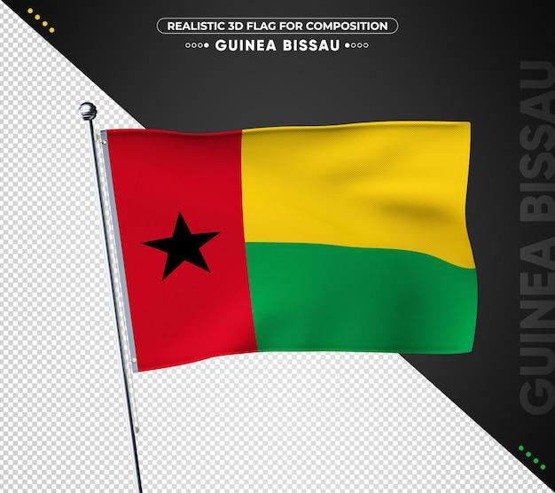 Bandeira da guiné-bissau com textura realista