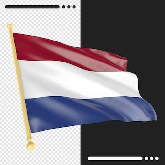 Bandeira da holanda em renderização 3d isolada