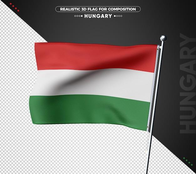 Bandeira da hungria 3d com textura realista