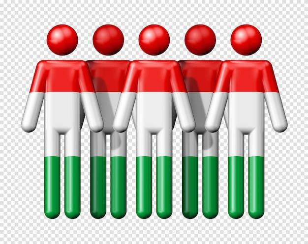 Bandeira da hungria na figura de pau