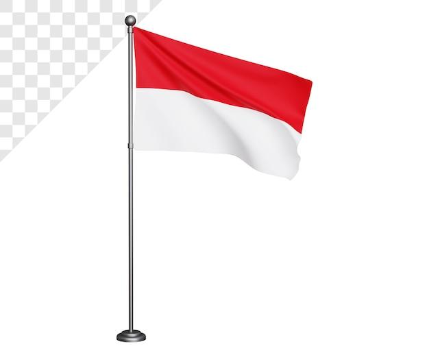 Bandeira da indonésia 3d com mastro de ferro