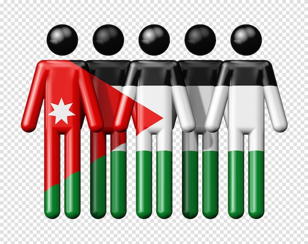 Bandeira da jordânia em um boneco de palito, símbolo 3d da comunidade nacional e social