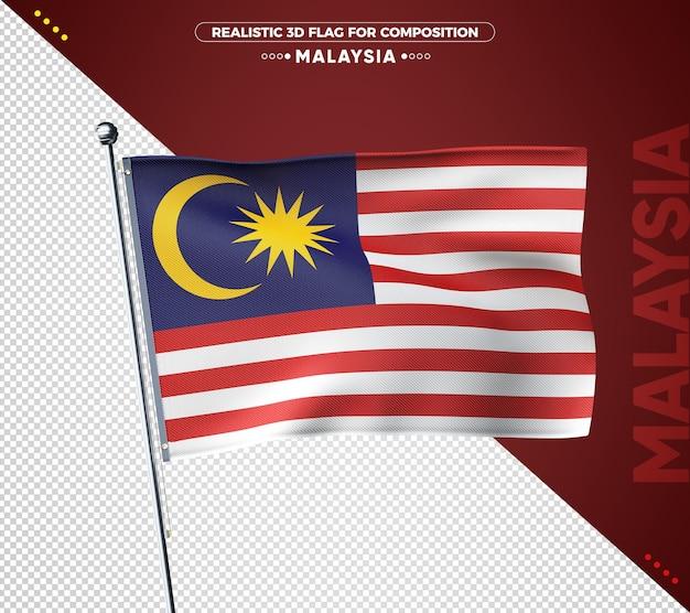 Bandeira da malásia 3d com textura realista