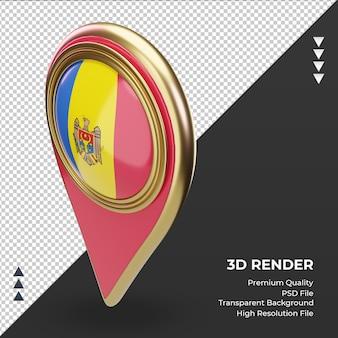 Bandeira da moldávia com pino de localização 3d renderizando vista direita