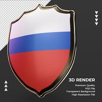 Bandeira da rússia com escudo 3d renderizando vista correta
