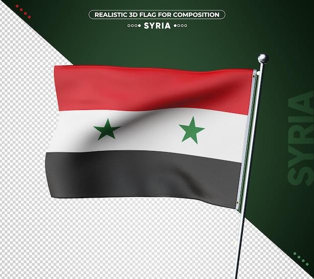 Bandeira da síria 3d com textura realista