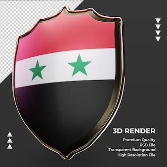 Bandeira da síria com escudo 3d renderizando vista correta