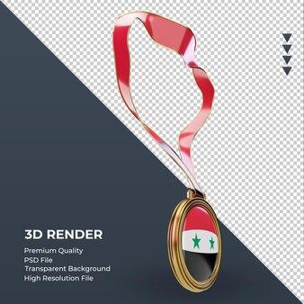 Bandeira da síria com medalha 3d renderizando vista esquerda