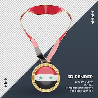 Bandeira da síria com medalha 3d renderizando vista frontal