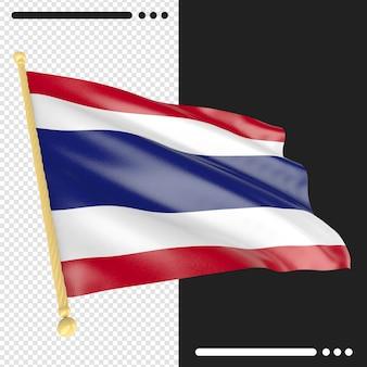 Bandeira da tailândia em renderização 3d isolada