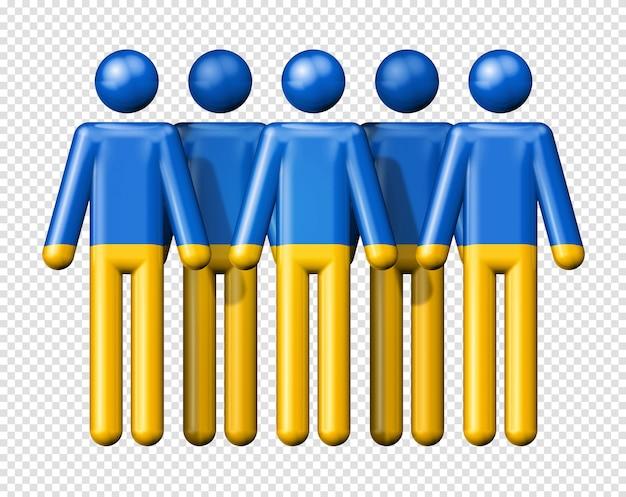 Bandeira da ucrânia em boneco palito