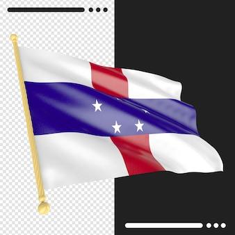 Bandeira das antilhas holandesas em renderização 3d isolada