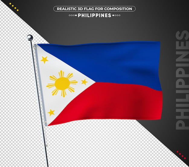 Bandeira das filipinas com textura realista