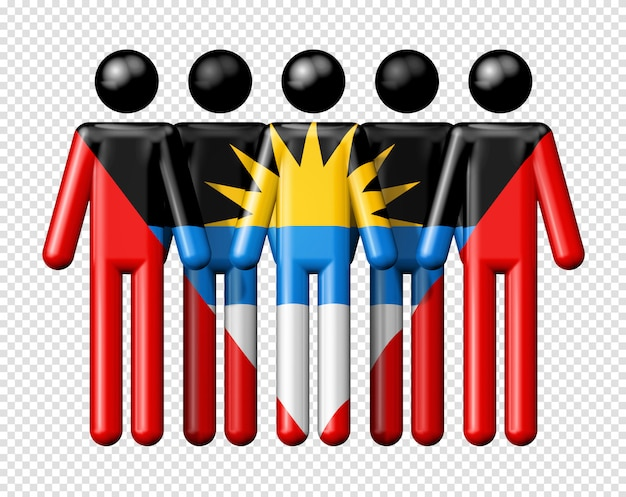 Bandeira de antígua e barbuda na figura de palito
