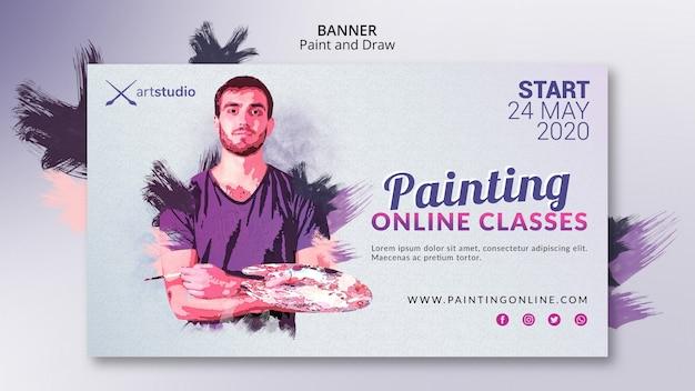 Bandeira de estúdio de arte de pintura de aulas on-line