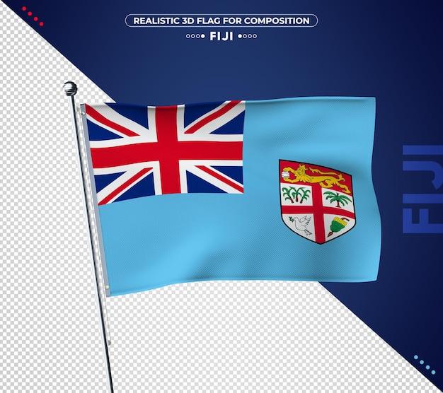 Bandeira de fiji com textura realista