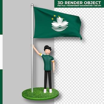 Bandeira de macau com personagem de desenho animado de pessoas fofas. dia da independência. renderização 3d.