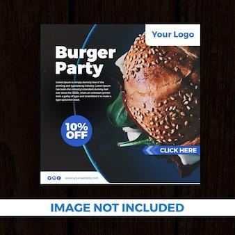 Bandeira de mídia social festa burger