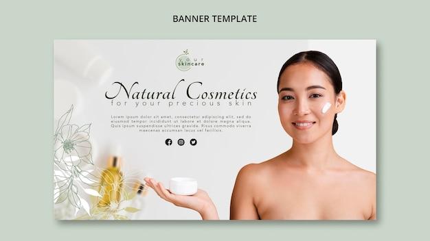 Bandeira de modelo de cosméticos naturais