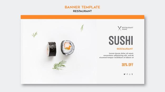 Bandeira de modelo de restaurante de sushi