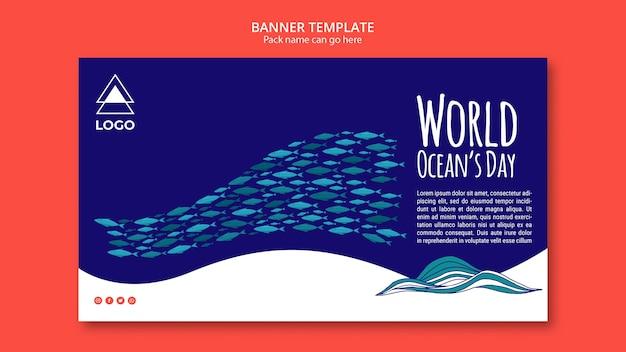Bandeira de modelo do mundo oceano dia
