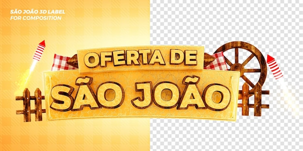 Bandeira de oferta da festa brasileira em são joão conceito de renderização 3d