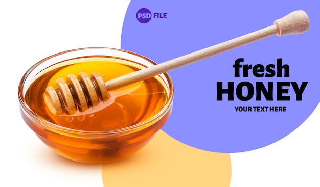 Bandeira de pau e tigela de mel