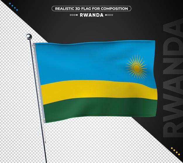 Bandeira de ruanda com estilo realista