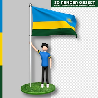 Bandeira de ruanda com personagem de desenho animado de pessoas fofas. dia da independência. renderização 3d.