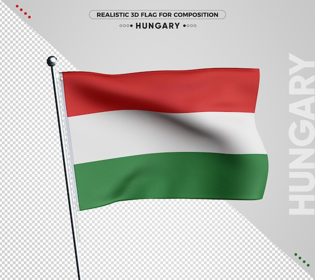 Bandeira de textura 3d da hungria para composição