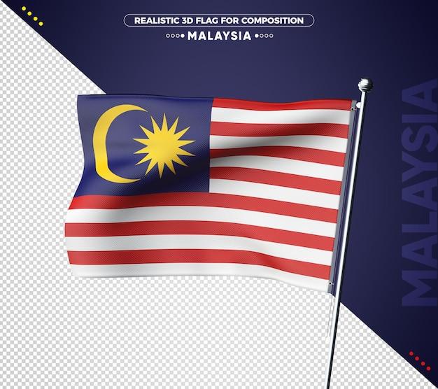 Bandeira de textura 3d da malásia para composição
