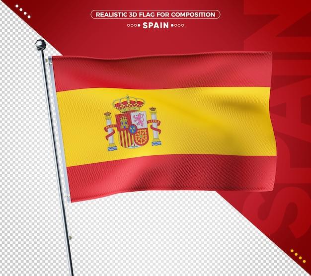 Bandeira de textura 3d realista da espanha para composição