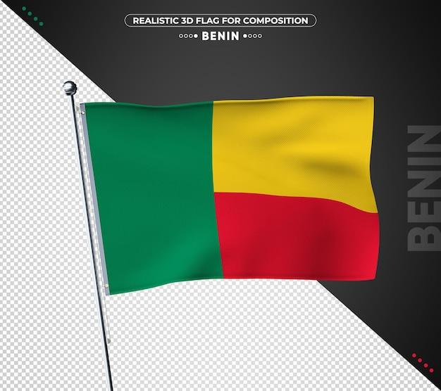 Bandeira do benin com textura realista