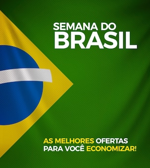 Bandeira do brasil com fundo 3d realista