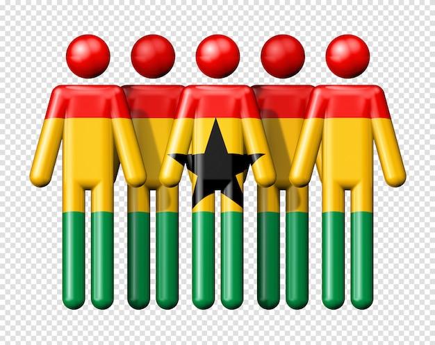 Bandeira do gana na figura de pau