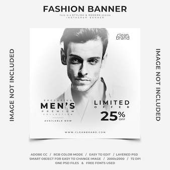 Bandeira do instagram do disconto do evento dos homens da forma