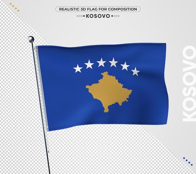 Bandeira do kosovo com textura realista