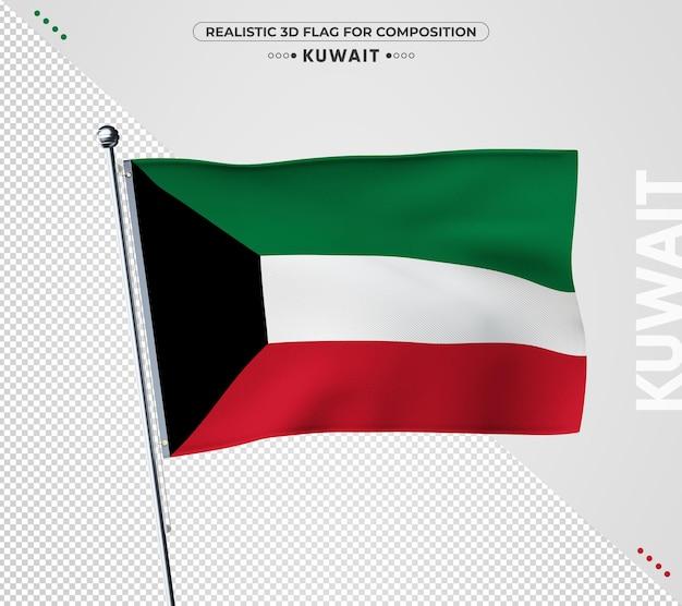 Bandeira do kuwait com textura realista