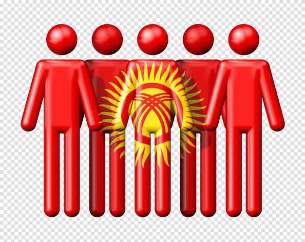 Bandeira do quirguistão em boneco de palito símbolo 3d da comunidade nacional e social