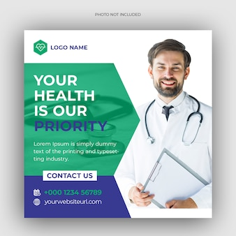 Bandeira médica social de saúde médica