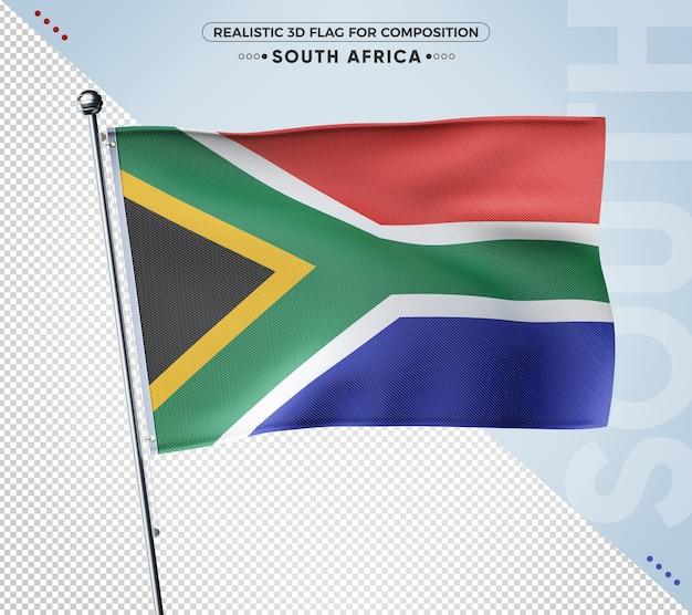 Bandeira realista 3d texturizada da áfrica do sul para composição
