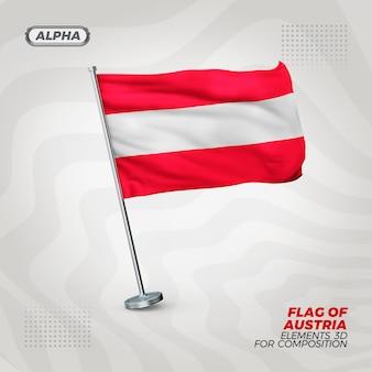 Bandeira realista 3d texturizada da áustria para composição
