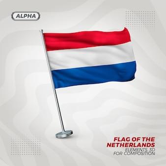 Bandeira realista 3d texturizada da holanda para composição