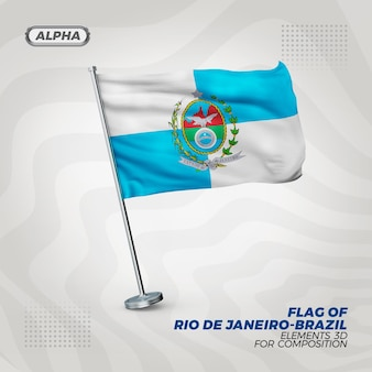 Bandeira realista 3d texturizada do rio de janeiro