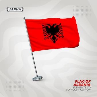 Bandeira realista da albânia com textura 3d para composição