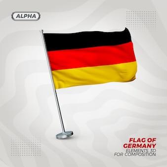 Bandeira realista da alemanha com textura 3d