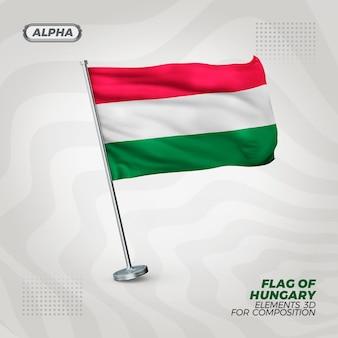 Bandeira realista da hungria com textura 3d para composição