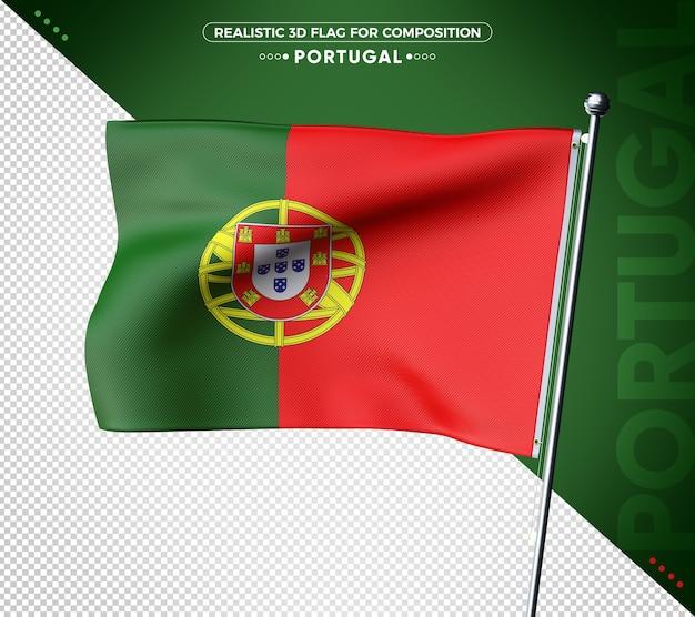 Bandeira realista de portugal com textura 3d para composição