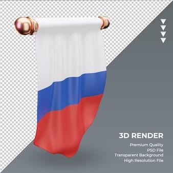 Bandeira russa de flâmula 3d renderizando a vista direita