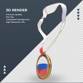 Bandeira russa medalha 3d renderizando vista direita Psd Premium